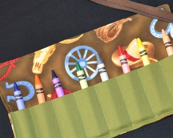 Green Cowboy Crayon Roll Party Favor - Cowboy Birthday - Boys gift horses cowboy boots horseshoes rodeo - Easter basket Gift