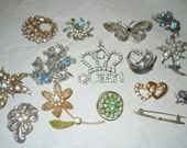 Large lot Vintage Rhinestone Jewelry