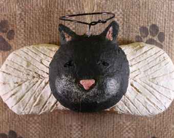 Black Cat Angel Ornament, OOAK, hand-sculpted from papier mache, CAT ANGEL Ornament