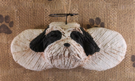 Shih Tzu Angel Ornament OOAK, hand-sculpted from papier mache, SHIH TZU