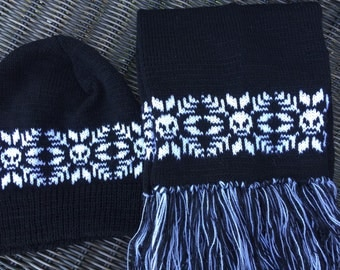 Machine knit Snowflake skull hat and scarf beanie hat long scarf