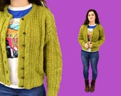 Mohair sweater cardigan SPLIT PEA green vintage 1980s large indie hipster IngridIceland
