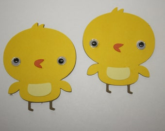 Set of 6 - Chick with Moustache Party Decor and Scrapbooking Embellishments