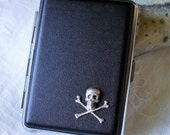 Black Leatherette Cigarette Case Silver Metal Skull and Cross Bones Design