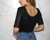 Vintage Black Cropped T-Shirt