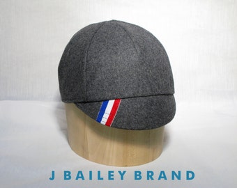Cycling Cap // Premium Gray Wool With Racing Stripe