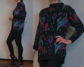 80s PHOENIX BIRD LEAVES Florals Long Knit Tunic Jade Green Rasperry Pink Purple Black Sweater Micro Mini Dress Small Medium 1980s