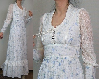 70s GUNNE SAX MUTTON Puff Slv vtg Corset Lace Up White Blue Roses Rennaissance Victorian Maxi Dress Sheer Lace Sleeves Small s/m 1970s