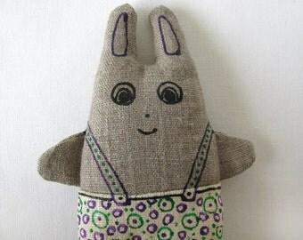 Linen bunny with violet and green bubbled pants - linen home decor item - little textile sculpture