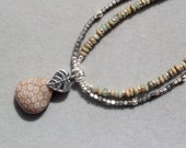 SALE -  Fossilized Coral necklace with agua terra and pyrite on sterling silver by EvyDaywear,