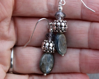 Kyanite, grey crystal and sterling silver earrings by EvyDaywear, one-of-a-kind designer earrings, for with jeans