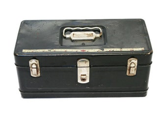 Vintage Toolbox in Black / Tool Box for Sturdy Unique Storage / Tackle Box / Made by Climax - The Hamilton Metal Products Co.