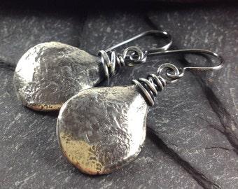 sterling silver wire wrapped teardrop earrings