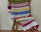 BLANKET / THROW . ' A Little Bit Country ' . With Merino wool. Super-soft. Crochet. Random stripes . Cottage chic... Ready to ship.