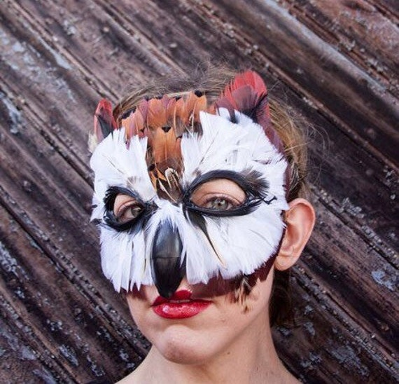 Feather Striped Owl Mask, mardi gras mask, owl costume, animal mask, adult costume, child costume, bird mask,