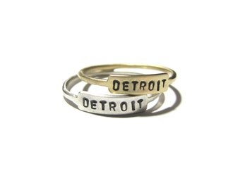 Handmade DETROIT Nameplate Ring in Brass or Sterling Silver  / / Personalized Nameplate Ring