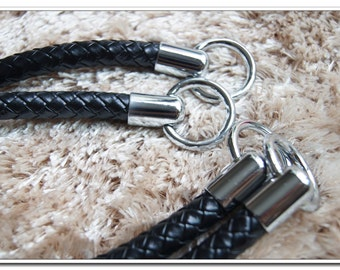 a pair of black PU leather purse handles bag handles with silver rings