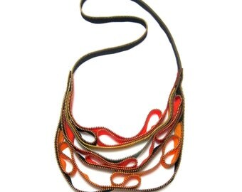 Zipper Colors Textile Colorful Handmade Black Yellow Zipper Jewelry Statement Necklace