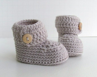 cashmere merino wool button cuff baby booties hand knit knitted neutral ugg style beige sand oyster wood buttons pregnany announcment box