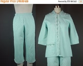 40% OFF 60s Blue Pajamas Vintage 1960s Light Quilted Capri Pants Coronet XS S XSmall Small