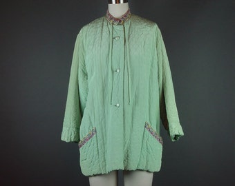 50s Short Robe Bed Jacket Vintage 1950s Evelyn Pearson Lounge Wear Quilted Mint Green Embroidered Swing Short XL