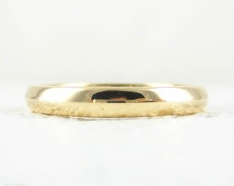 Rose Gold Wedding Ring, Vintage 1920s Narrow 14 Carat Rose Gold Ladies D Profile Wedding Band. Size L / 6.