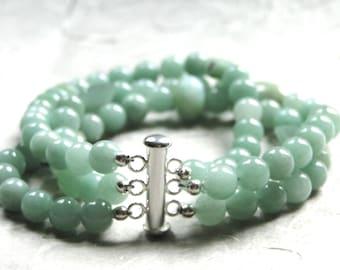 Jewelry / Three Strand Gemstone Bracelet / Bangle / Bracelet / Gemstone Bracelet / Accessories / Holiday Gift / Stocking Stuffer