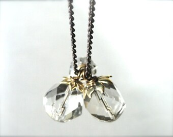 Crystal Drop Necklace / Accessories / Statement Necklace / Mother's Day Necklace / Brass Necklace / Crystals / 14k Gold