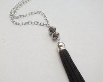 Black tassel suede grey crystal bead pendant necklace