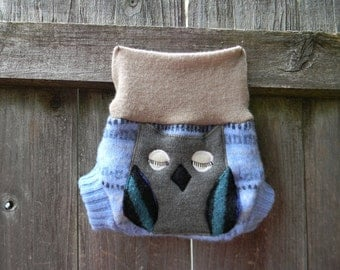 Upcycled Wool  Soaker Cover Diaper Cover With Added Doubler Blue/ Baige With Owl Applique NEWBORN 0-3M Kidsgogreen