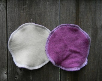 Nursing Pads Absorbent Breastfeeding Pads One Pair Three Layers Organic Merino Wool Interlock / Purple Upcycled Merino Wool