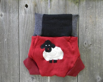 Upcycled Merino Wool Soaker Cover Diaper Cover With Added Doubler Gray/ Black And Red With Baa Baa Sheep Applique LARGE 12-24M
