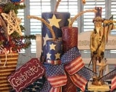 Primitive  One Set Of Americana Patriotic Wooden Firecrackers Hand Painted By Denise