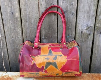 Vintage Tooled Leather TEXAS handbag / Texas Purse / Leather Handbag / Lone Star State / Texas Souvenir purse / Revolution / 1990's