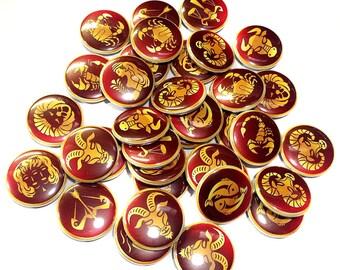 """Zodiac, 1"""" Buttons, Zodiac Pins, Horoscope, Zodiac Party Favor, Zodiac Embellishments, Zodiac Craft Supplies, Horoscope Theme, Zodiac Theme"""