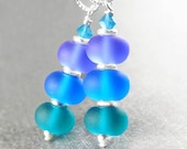 Lampwork Sea Glass Earrings Sterling Silver Earrings Etched Blue Sea Glass Earrings Purple Green Blue Bead Earrings Artisan Handmade Jewelry
