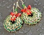 Christmas Wreath Earrings 14k Gold Fill Red Green Earrings Holiday Gift Jewelry Christmas Earrings Gold Green Wreath with Red Bow Earrings
