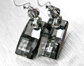 Metallic Grey Earrings Sterling Silver Earrings Swarovski Grey Crystal Earrings Dark Gray Dangle Column Earrings Rectangle Earrings