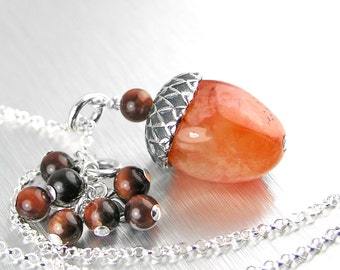 Natural Agate Acorn Necklace Orange Red Stone Necklace Sterling Silver Necklace Red Tiger Eye Necklace Autumn Acorn Pendant Necklace