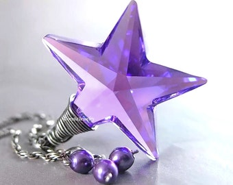 Purple Star Necklace Sterling Silver Chain Wire Wrapped RARE Swarovski Purple Crystal Star Pendant Celestial Jewelry Violet Amethyst Star