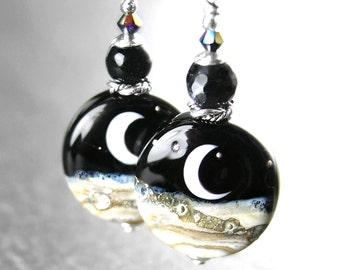 Crescent Moon Earrings Sterling Silver Hook Earrings Black White Artisan Handmade Glass Moon Lampwork Earrings Celestial Jewelry Night Sky