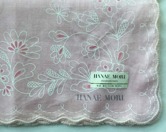 Hankie, Vintage Pale Pink Hanae Mori Butterflies & Flowers Handkerchief, Scallop Edge, Unused with Label, Japan