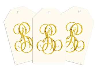 Custom Monogram Gift Tags, Double Overlap Personalized Gift Tag for Gifts, Holidays, Weddings and More