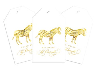 Custom Monogram Gift Tag, Santa Zebra Personalized Gift Tag for Gifts, Holidays, Weddings and More