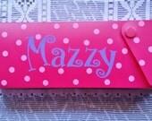 Pencil/Crayon Box - Personalized - Polka Dots - School Organizer - Make-Up Box - First Aid Box - School Supplies