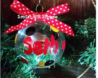 1 Christmas Name Decal for Ornament plus dots - Personalized Name Ornament - ORNAMENT NOT INCLUDED -Polka Dots - Decals - santasgiftshoppe