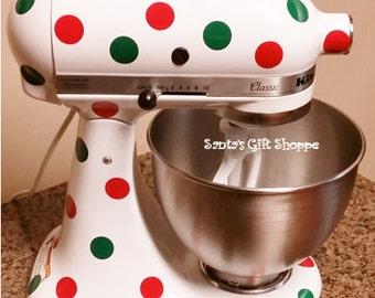 Kitchenaid Christmas - Mixer Vinyl - Christmas Polka Dots for Kitchenaid- Personalized Mixer - Kitchenaid mixer decals - Kitchen Update