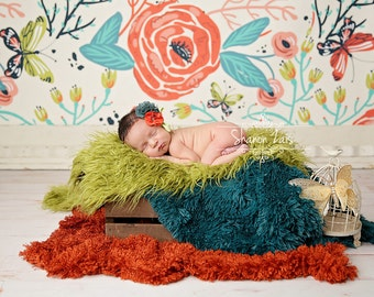 You Choose Pelagio Faux Fur Nest Photography Prop Rug Olive Green Rust Orange Teal