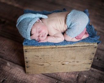 Light Blue Mohair Knot Hat and Shorts Set Newborn Baby Photography Prop