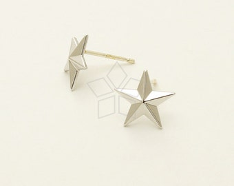 SI-693-OR / 2 Pcs - Tiny Shiny Star Stud Earrings, Silver Plated over Brass Body with, 925 Sterling Silver Post / 10mm x 9.6mm
